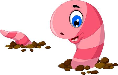 gusano caricatura: dibujo animado divertido gusano en la arena