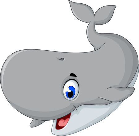 cute gray whale cartoon smiling Illustration
