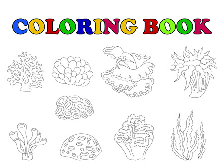 alga: coloring book of beautiful coral collection