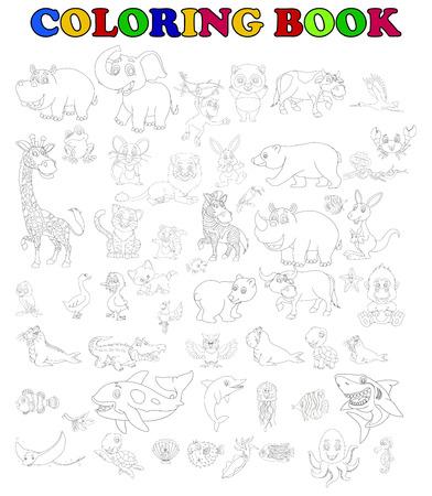 oso perezoso: libro para colorear de gran conjunto de dibujos animados animales Vectores