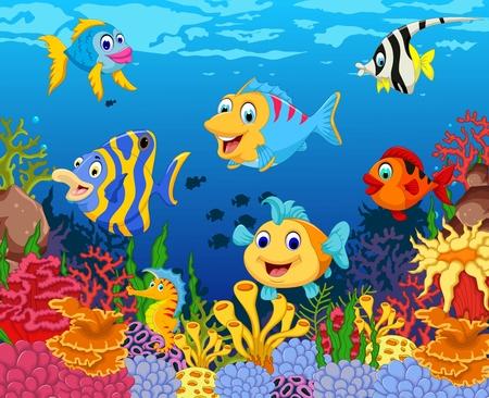 funny fish cartoon with beauty sea life background
