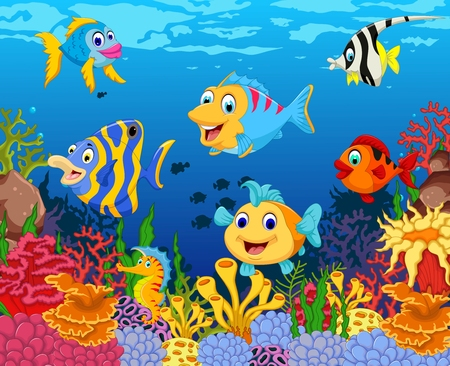 funny fish cartoon with beauty sea life background