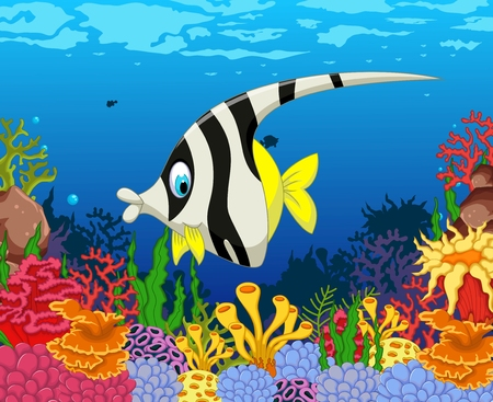 funny black and white angel fish cartoon with beauty sea life background Illustration