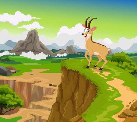 mountain landscape: funny chamois cartoon with beauty mountain landscape background