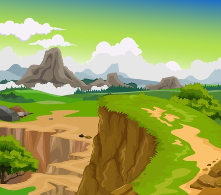 beauty cliff with mountain landscape background