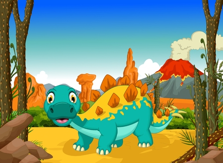 pettifogs: funny stegosaurus cartoon with forest landscape background