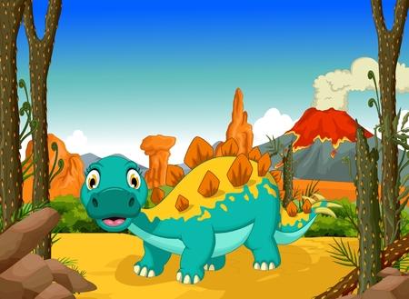 stegosaurus: historieta divertida estegosaurio con el fondo del paisaje forestal Vectores