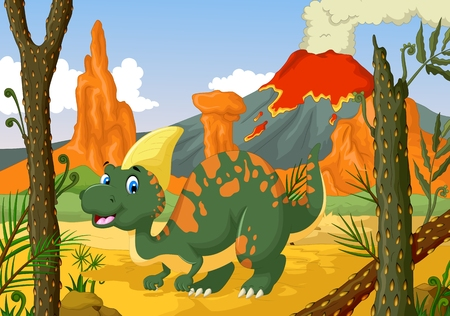 funny Parasaurolophus cartoon with forest landscape background