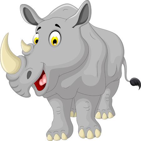 animales de la selva: sonriente linda del rinoceronte Vectores