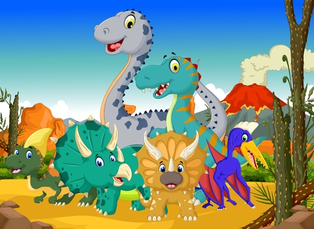 funny dinosaur cartoon in the jungle with landscape background Illustration
