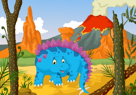 cretaceous: funny stegosaurus cartoon with volcano landscape background Illustration