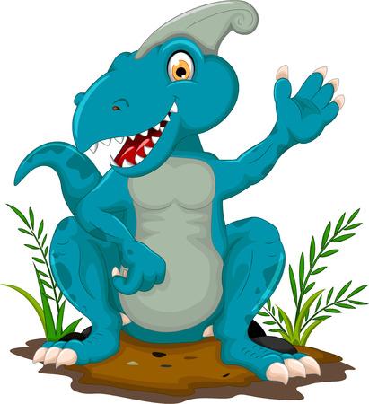 growling: cute tyrannosaurus cartoon posing Illustration
