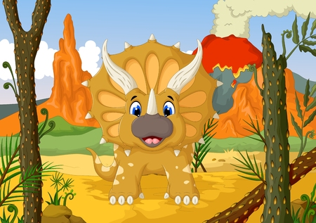 triceratops: funny Triceratops cartoon with forest landscape background Illustration