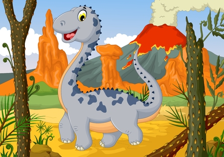 funny cute dinosaur cartoon in the jungle with landscape background Illustration