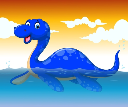 funny dinosaur cartoon swimming with sea life background Illustration