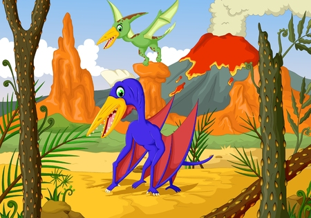 dragon fly: funny two pterodactyl cartoon with volcano landscape background Illustration
