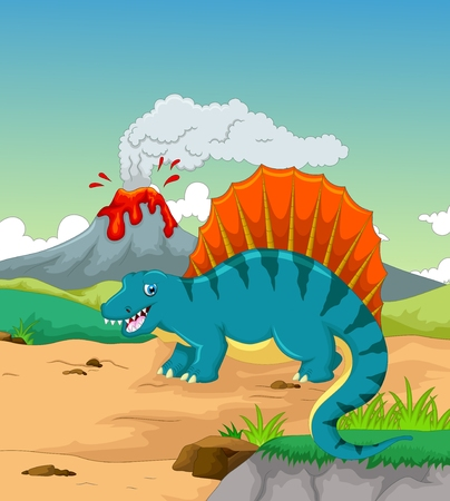 cute dinosaur cartoon with volcano background Illustration