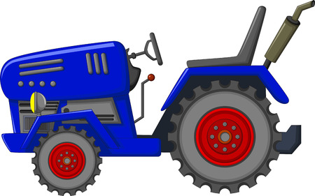 traction engine: blue tractor cartoon for you design