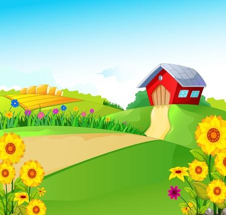 beauty farm: beauty farm with landscape background