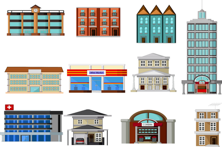 home school: various buildings cartoon for you design