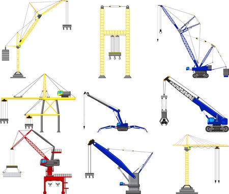 truck crane: set of Construction crane Illustration