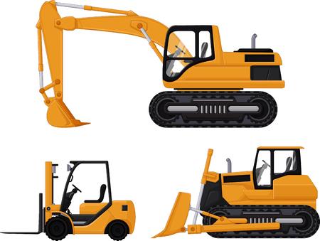 backhoe: backhoe, forklift and bulldozer