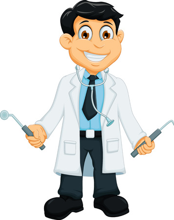 cute Dentist cartoon holding dentist tools Illustration