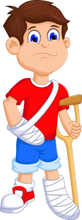 casts: Boy cartoon broken arm and leg Illustration
