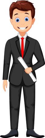Smiling business man cartoon
