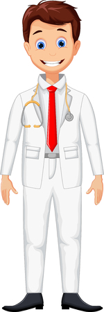 cute young professional doctor cartoon Illustration