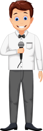 funny cartoon host holding a microphone Illustration