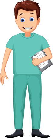 profesional: cute Nurse man cartoon Illustration