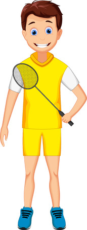 one child: cute boy cartoon holding badminton racket