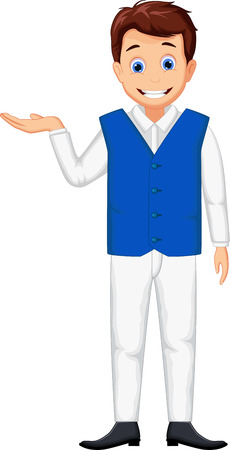 handsome boys: cute waitress man cartoon posing Illustration