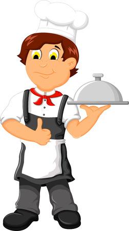 funny chef cartoon holding food Illustration