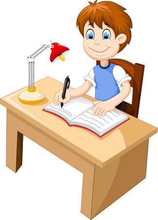 grappige cartoon Boy studeren aan een bureau