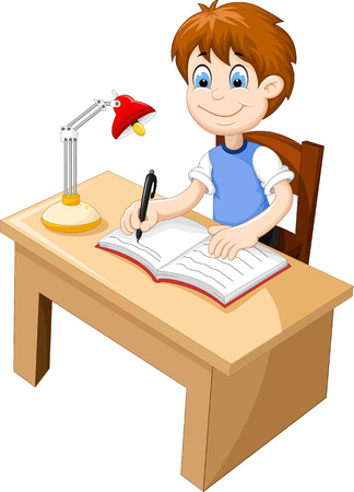 funny Boy cartoon studying at a desk