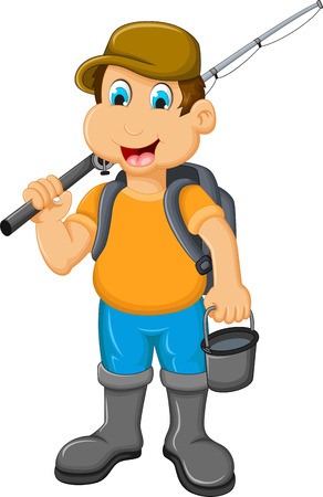 pecheur: pêche de bande dessinée petit garçon drôle Illustration