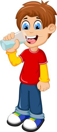 cute boy cartoon drinking water