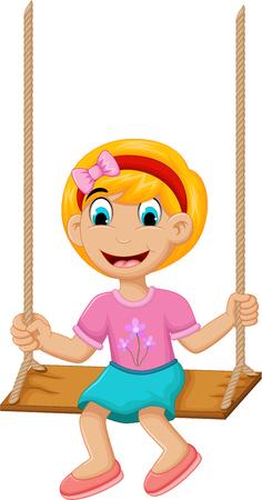 suspend: funny Little girl plying swing Illustration