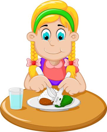 hungry: cute little girl cartoon has breakfast Illustration