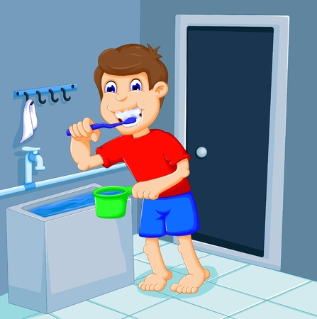 cute boy cartoon brushing teeth in bath room
