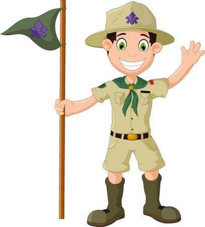mignon dessin animé garçon scout tenant crier pôle