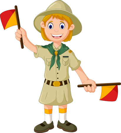 signals: funny scout girl cartoon playing semaphore