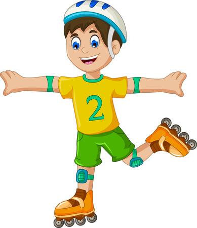 speed skating: funny boy cartoon plying roller skates Illustration