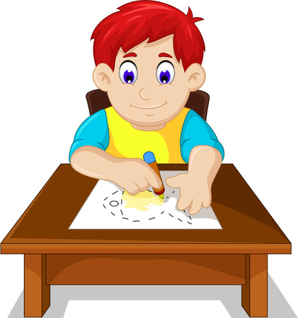 child boy: cute boy child cartoon drawing fish Illustration