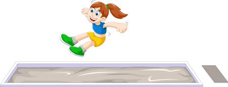 salto largo: mujer de dibujos animados haciendo atleta de salto de longitud en el concurso Vectores