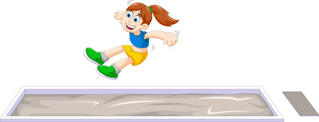 cartoon woman athlete doing long jump in the competition