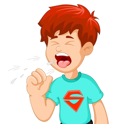 boy cartoon coughing for you design Illustration