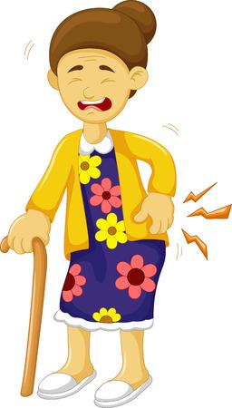 cartoon old grandmother was lumbago